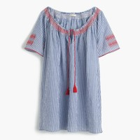 Embroidered tie-front tunic