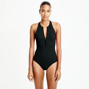 Zip-front one-piece swimsuit in Italian matte