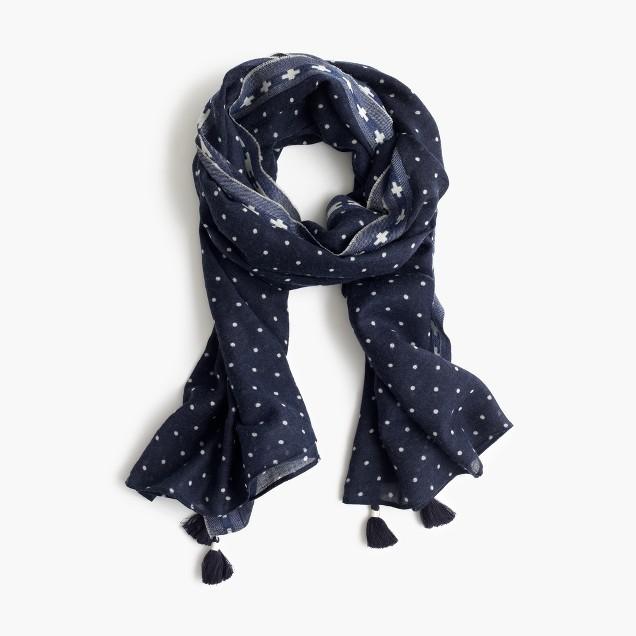 Polka-dot scarf with tassels