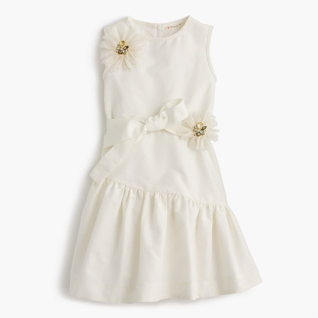 Girls' jeweled flower ruffle dress
