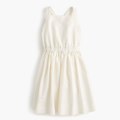 Girls' silk bow-back dress