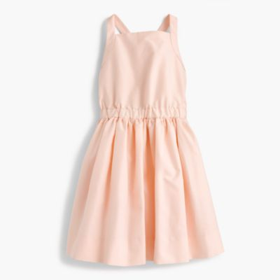 Girls' silk bow-back dress