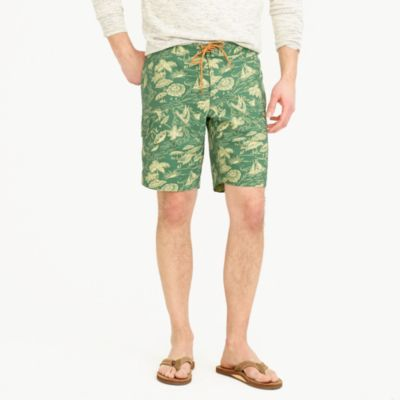 "9"" stretch board short in island print"