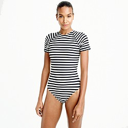 Long-torso open-back short-sleeve swimsuit classic stripe