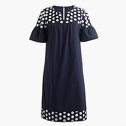 Petite bell-sleeve dress with fringe dot