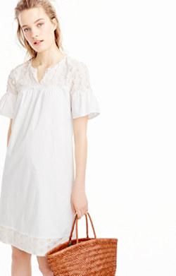 Bell-sleeve dress with fringe dot