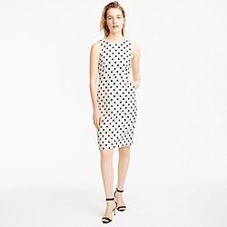 Petite sheath dress in polka dot textured tweed
