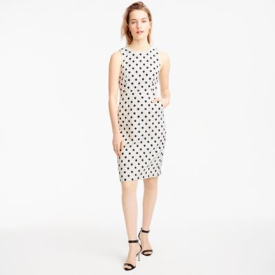 Tall sheath dress in polka dot textured tweed