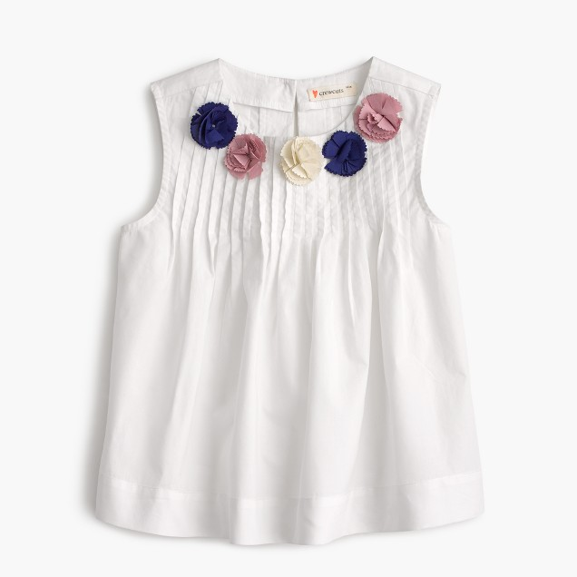 Girls' top with flower embellishments