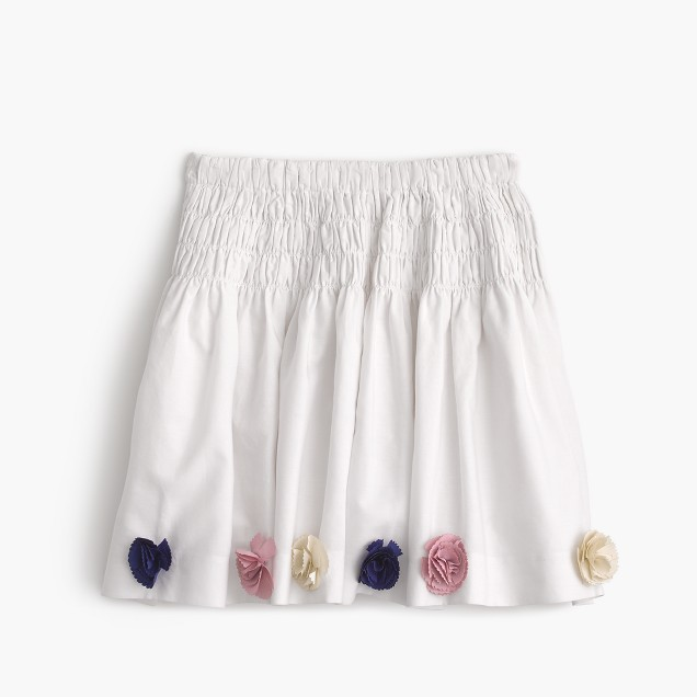Girls' smocked pull-on skirt with flower embellishments