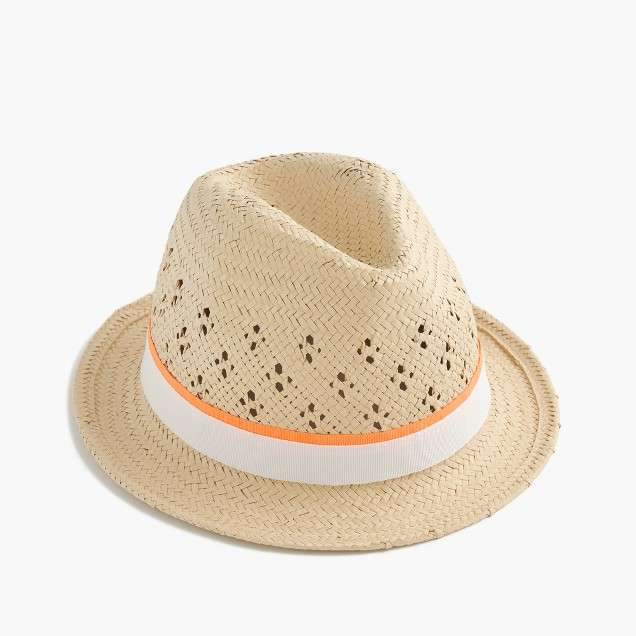 Girls' straw trilby hat