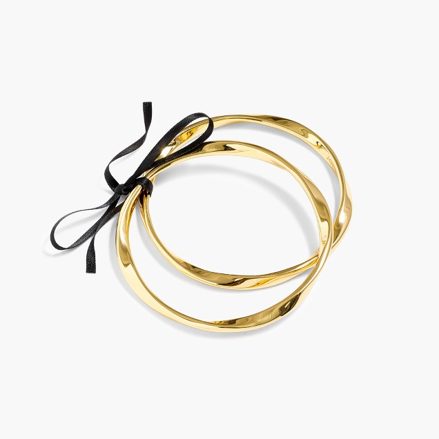 Twisted antiqued-gold bangles (set of two)