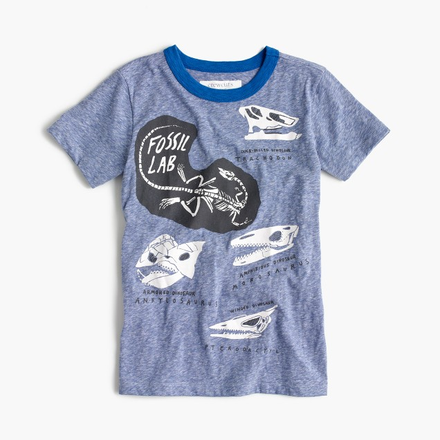 Boys' glow-in-the-dark fossil T-shirt in the softest jersey