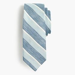 Silk-linen tie in stripe