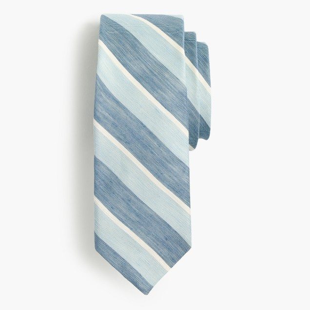Silk-linen tie in stripe