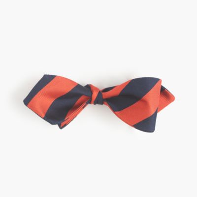Silk bow tie in repp stripe