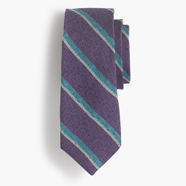 Silk-linen tie in purple stripe