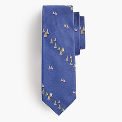 Silk tie in embroidered sailboats