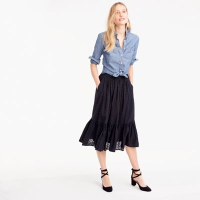 Tall clip-dot tiered skirt