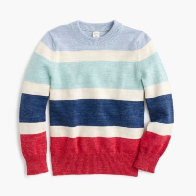 Boys' cotton striped crewneck sweater
