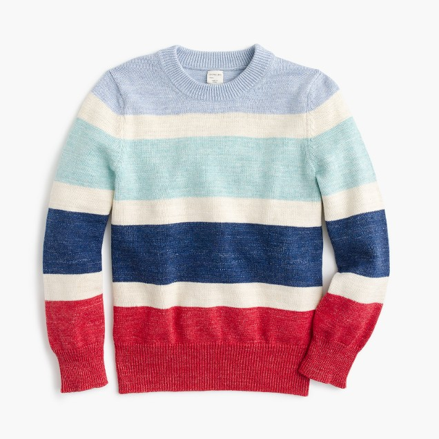Boys' cotton striped crewneck sweater
