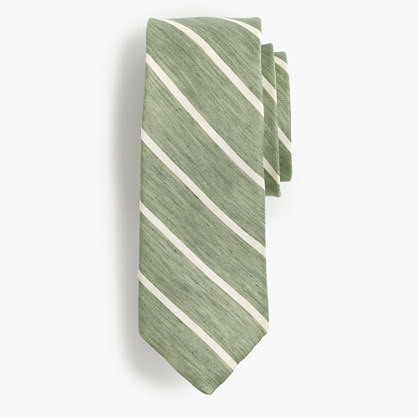Silk-linen tie in thin stripe