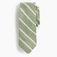 Silk-linen tie in thin stripe