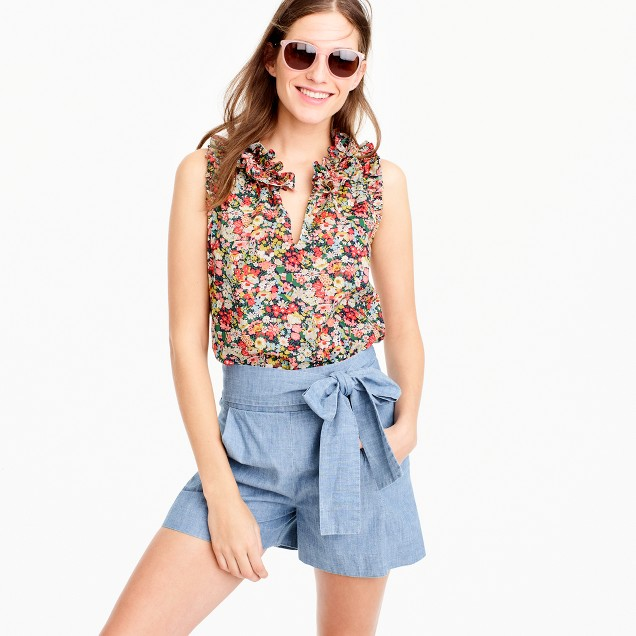 Petite ruffle top in Liberty® Thorpe floral
