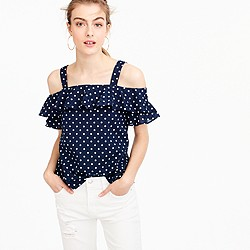 Petite polka-dot cold-shoulder top