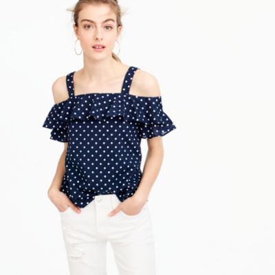 Polka-dot cold-shoulder top