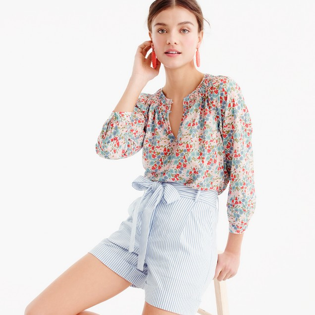 Smocked top in Liberty® poppy & daisy floral