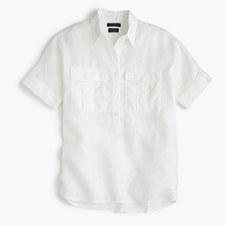 Short-sleeve popover in piece-dyed Irish linen - WHITE
