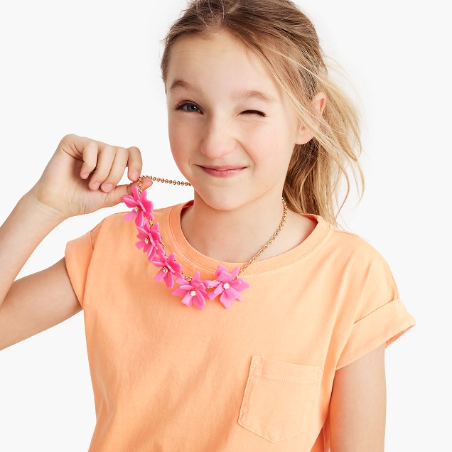 Girls' neon flower necklace