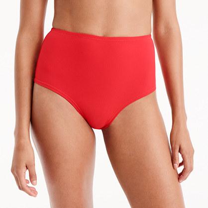 High-waisted bikini bottom in piqué nylon