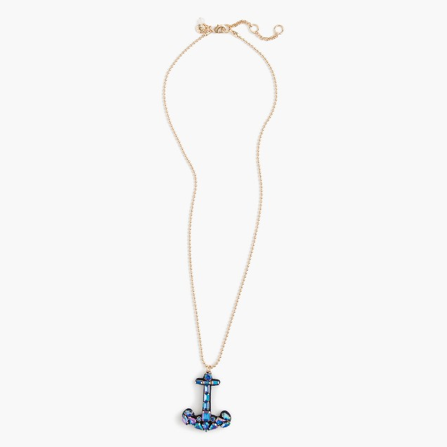 Girls' mosaic anchor necklace
