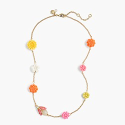 Girls' flower necklace with glow-in-the-dark bug