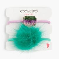 Girls' glitter pop-pom hair ties