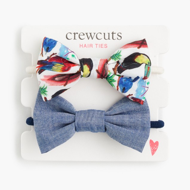 Girls' fabric bow hair ties