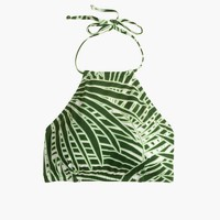Cropped halter swim top in palm leaf print