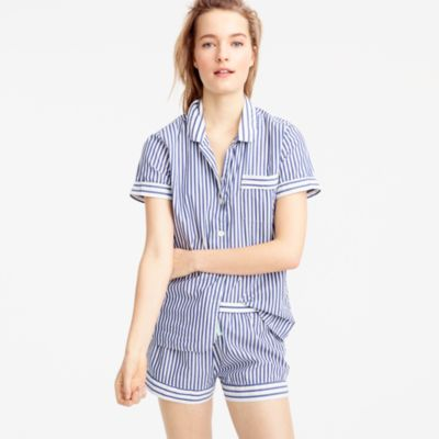 Striped pajama set in end-on-end cotton