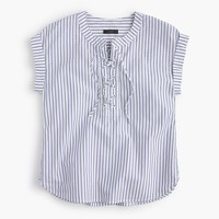 Petite lace-up popover in stripe