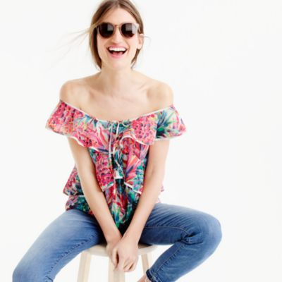 Petite ruffle top in Ratti® painted pineapple