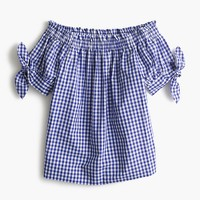 Petite off-the-shoulder top in gingham