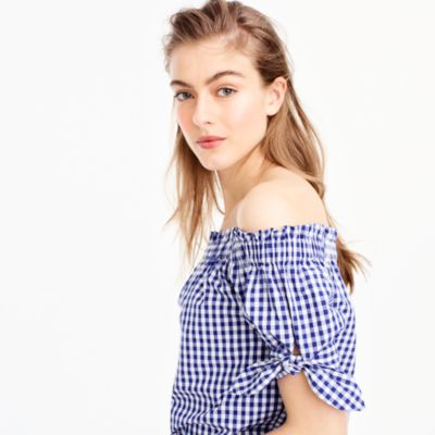 Off-the-shoulder top in gingham