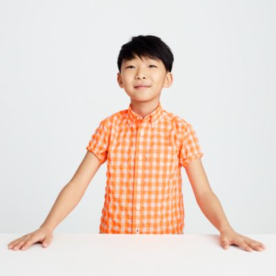 Kids' short-sleeve Secret Wash shirt in neon gingham