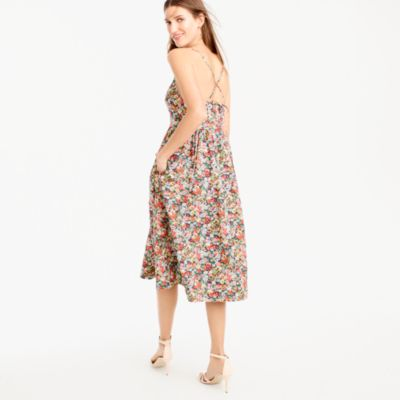 Tall lace-up back dress in Liberty® Thorpe floral