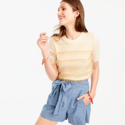 Tippi short-sleeve sweater with tulle