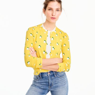 Cotton Jackie cardigan sweater in lemon print