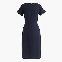 Petite ruffle-sleeve sheath dress in Italian stretch wool
