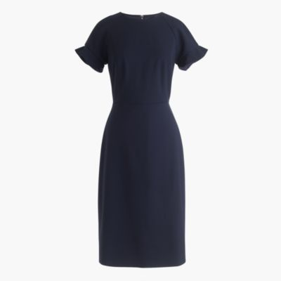 Ruffle-sleeve sheath dress in Italian stretch wool